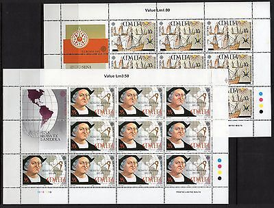 Malta Sg919/20 1992 Europa Discovery Of America By Columbus Sheetlets Mnh