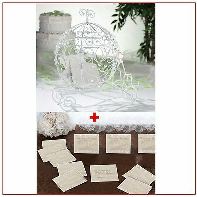 Fairy Tale Beaded Coach Wedding Party Card Holder With 48 Lace Guest Cards