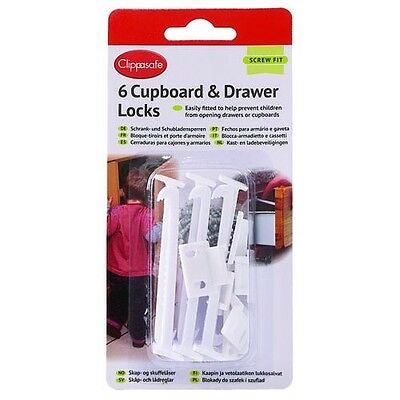 Clippasafe Cupboard Drawer Safety Catch Lock 6 Pack Baby Proof Safety Screw Fit