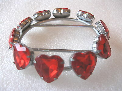 "BELT UCKLE "" RED HEARTS ""  CRYSTAL RHINESTONE perfect"