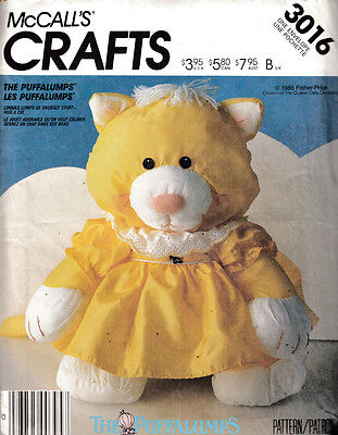 Mccall's Crafts Sewing Pattern #3016 The Puffalumps Cat