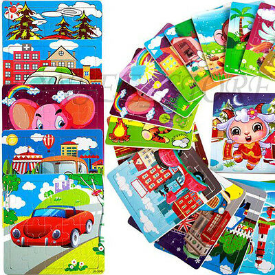 24 Patterns Wooden Puzzle Educational Developmental Baby Kids Training Toys Gift