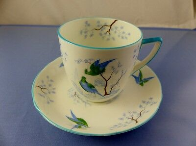 Blue Birds Cup & Saucer Set By Ye Olde English Grosvenor China England