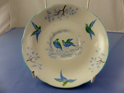 BLUE BIRDS SAUCER for Tea Cup BY YE OLDE ENGLISH GROSVENOR CHINA ENGLAND