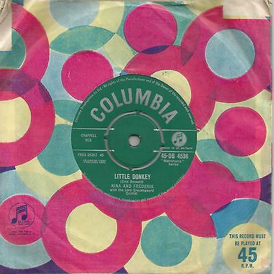 "Nina And Frederik - Little Donkey (Columbia 45-Db 4536) Uk 1960 7"" Single Ex"