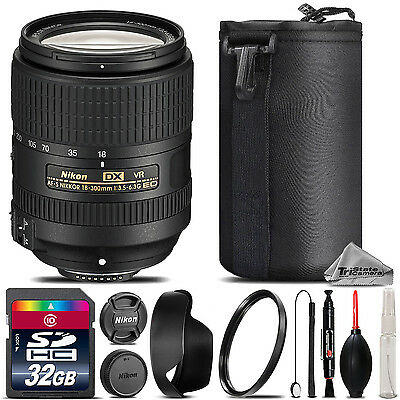 Nikon AF-S DX NIKKOR 18-300mm f/3.5 VR Lens + Lens Hood + U.V Filter - 32GB Kit