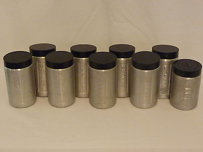 Vintage 8 Piece Steelmasters Alpine Brand Spice Canisters Made In Italy + Bonus
