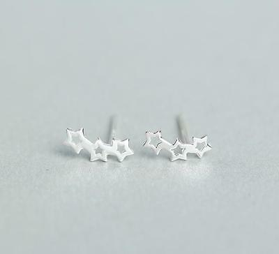 Rhodium Plated 925 Sterling Silver Small Cut Out Three Stars Wave Stud Earrings