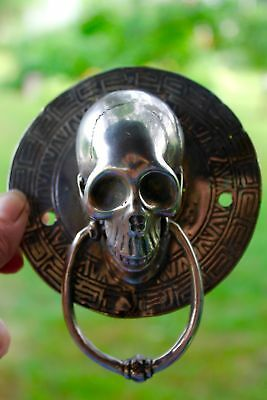 Vintage Gothic Skull Door Knocker lost wax Cast Silvered Bronze Balinese Art