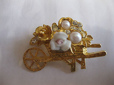 Fashion Jewellery Brooch Wheelbarrow Flowers And Pearl
