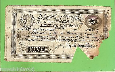 #d259. 1895  Stanford Spalding & Boston Bank 5 Pound Banknote #k7747