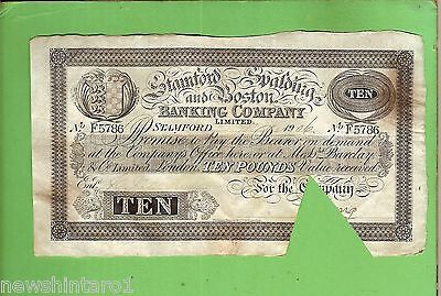 #d259. 1906  Stanford Spalding & Boston Bank 10  Pound Banknote #f5786