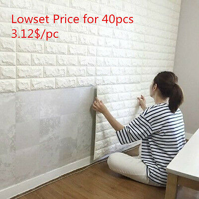 Lots 3D effect Flexible Stone Brick Wall Textured Viny Wallpaper Self-adhesive