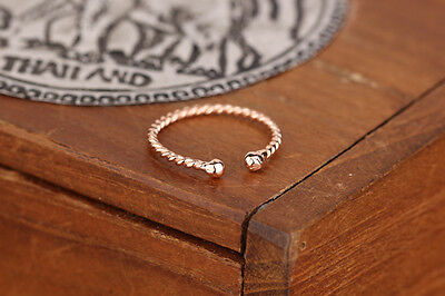 Rose Gold PL Solid 925 Sterling Silver Twisted Wire Midi Knuckle Top Finger Ring