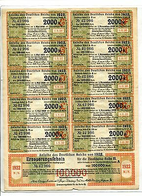 Germany Deutsches Reich GERMAN TREASURY BOND w COUPONS 1922 100,000 Marks