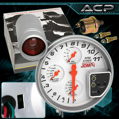 For toyota racing performance jdm 5 tachometer gauge cluster universal 4in1 gauge 5 led display tachometer cluster oil water temp pressure publicscrutiny Image collections