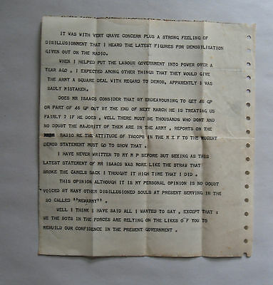 1947 Letter from British Soldier to Attlee Government. Demobilisation Complaint