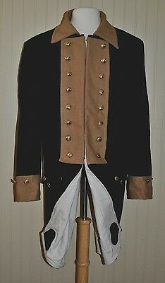 Revolutionary War Continental Army Frock Coat Blue w/Tan Collar - Size 52