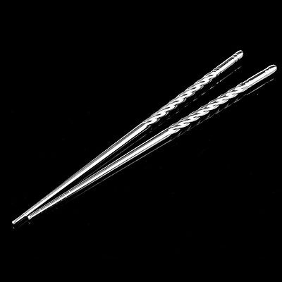"9"" Stainless Steel Chinese Chopsticks Non-Slip Reusable Stylish Chop Sticks UK"