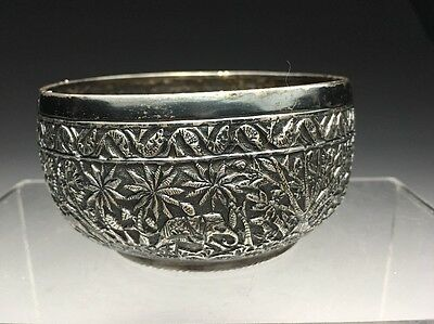 Incredible Indian Kutch Repousse Silver Bowl With Elephants Tigers
