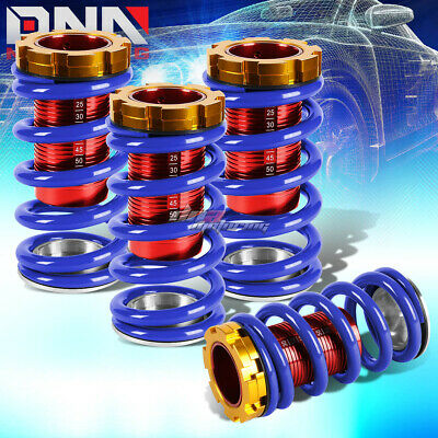 "Blue Adjustable 1-4""red Scale Suspension Coilover Spring For 88-00 Eg Ek Em Dc"