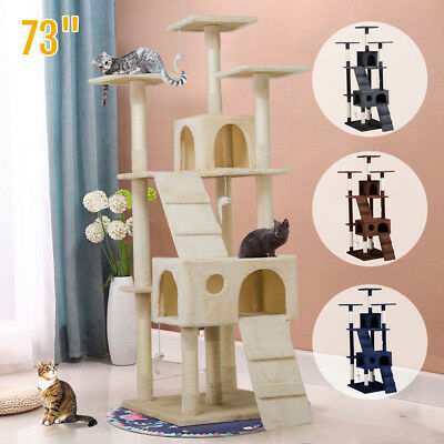 """Luxurious 73"""" Cat Tree Play House Tower Condo Furniture Scratch with Large Base"""