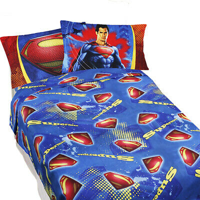 SUPERMAN BED SHEETS - DC Comics Super Steel Blue Superhero Bedding Accessories