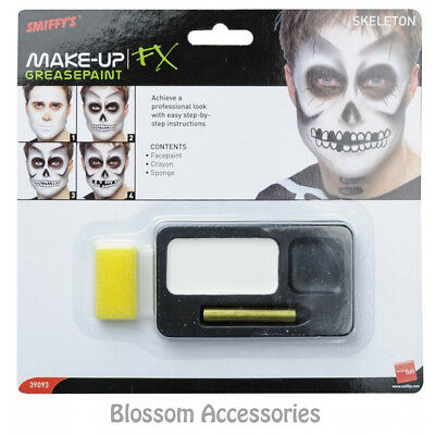A864 Skeleton Halloween Face Paint Makeup Palette Special FX Black White Make-Up