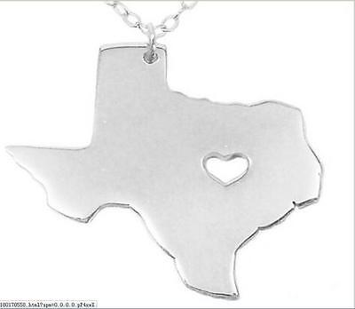 NEW  silver  USA State of Texas 316L Stainless Steel Pendant Necklace