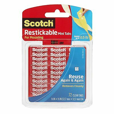 1 Pk 72 Scotch 3M Restickable Clear Tabs, 12.7mm x 12.7mm, Holds Upto 0.5lb R103