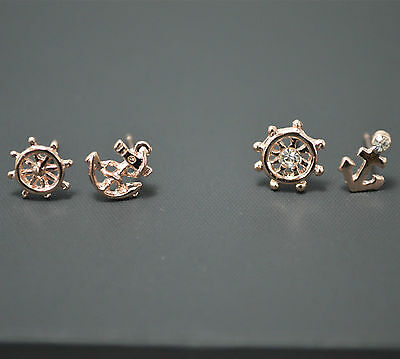 2 Pack Pair 14K/14ct Rose Gold PL Small Anchor&Helm Crystal Stud Earrings Set