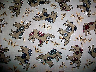 Novelty Shabby Cow Toss Cotton Quilt Fabric