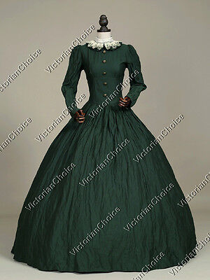 Victorian Gothic Civil War Day Dress Gown Theater Reenactment Punk Costume 316