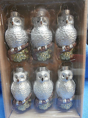 Lot of 6 Snowy Owl Christmas Ornaments - New in Box