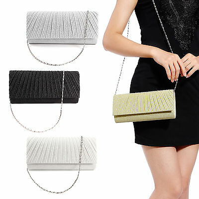 Anladia Sac A Main Soiree Glitter Besace Chaine Pochette Argente Evening Bag