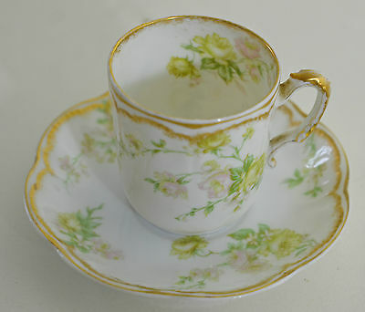Heavenly Vintage Limoges Handpainted Coffee Cup And Saucer Rr905