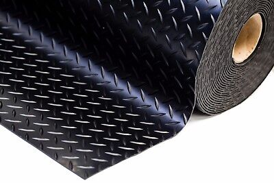5Mm Thick Heavy Duty Checker - Plate Rubber Garage Flooring Matting 1.5M Wide
