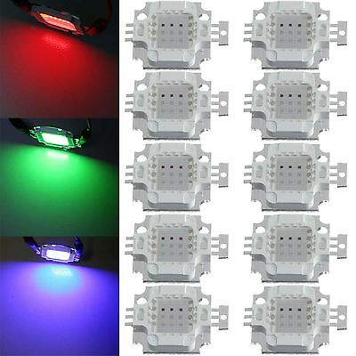 10pcs 10W watt high power RGB multi color led SMD chip bead flood light lamp