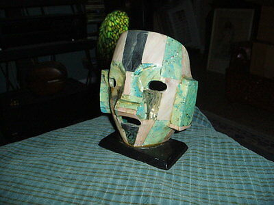 """Vintage MAYAN ART MASK STATUE W/ Abalone & Gem Stone Inlays 6"""" Made In Mexico"""