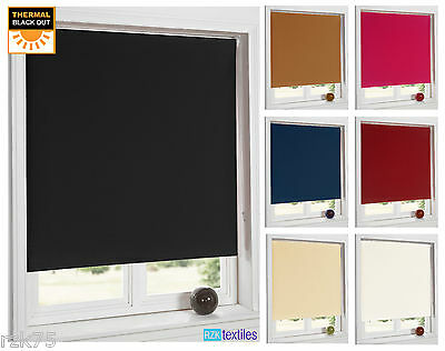 100% Blackout Thermal Roller Blinds, Easy To Fit Window Blinds, Trimmable