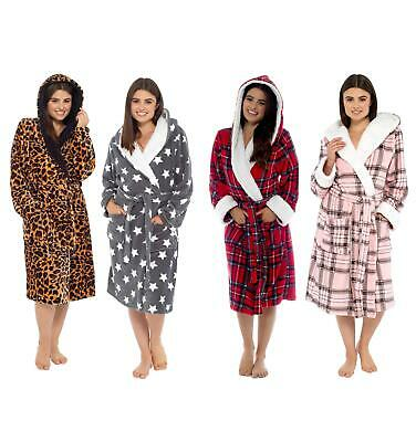 Ladies Hooded Fair Isle Robe, Soft Plush Dressing Gown, Size 10-18