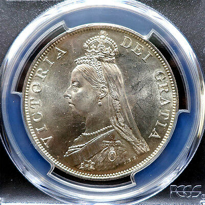 Pcgs-Ms64 1887 Great Britain Double Florin Silver Gem Bu