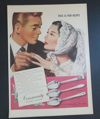 Original Print Ad 1946 Community Silverplate This Is For Keeps Jon Whitcomb Merchandise & Memorabilia Advertising-print