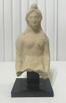 Pottery Statue Partial Figure Bust Of Tanit, Ancient Phoenician Deity, 500-400Bc