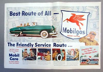 Centerfold Original 1952 Mobil Ad BEST ROUTE OF ALL ..ONES WITH MOBILGAS