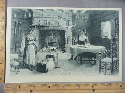 Rare Antique Original VTG New England Pioneer Home Hudson Illustration Art Print