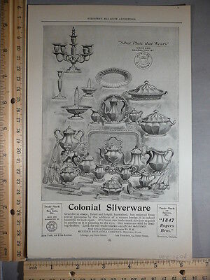 Rare Original VTG 1898 Colonial Silverware Aeolian Pianola Advertising Art Print