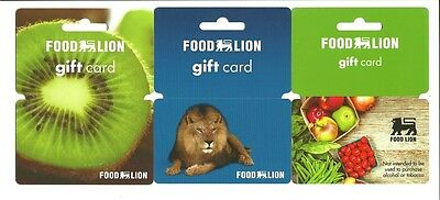 Lot (3) Food Lion Gift Cards No $ Value Collectible