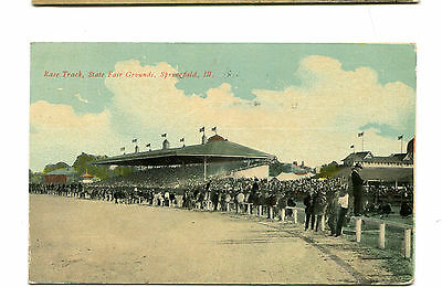 Vintage Postcard SPRINGFIELD IL STATE FAIR GROUNDS RACE TRACK 1911