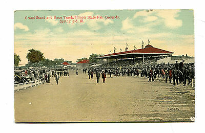 Vintage Postcard SPRINGFIELD IL STATE FAIR GROUNDS Grandstand & Racetrack 1913